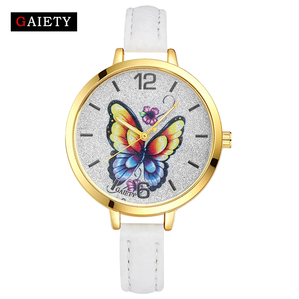 Gaiety Brand Fashion Luxury Leather Strap Women New Gold White Casual Butterfly Dial Men Wristwatch Sport Ladies Quartz Watches gaiety men s casual stripe dial leather band dress watch g538