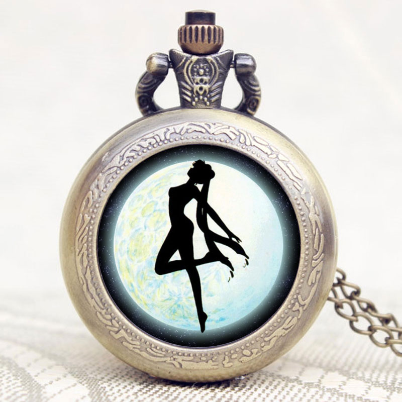 2016 New Arrival Sailor Moon Theme Pretty Soldier Design Case Bronze Quartz Pocket Watch Gift To Children Girls new arrival retro bronze doctor who theme pocket watch