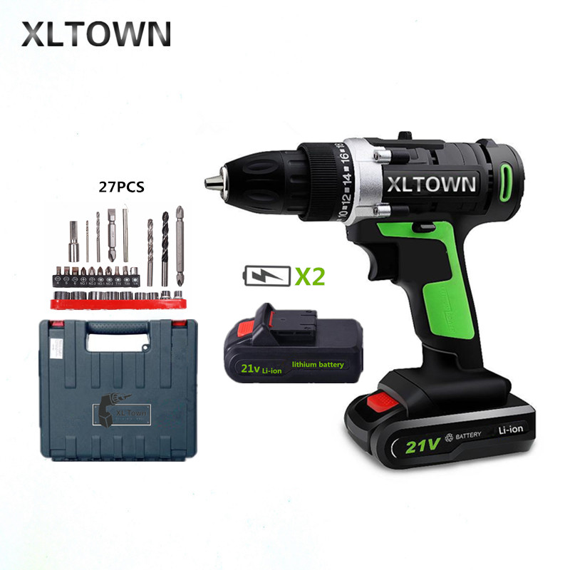XLTOWN 21v Home Cordless Electric Drill with 2 battery a box Multi-Motion lithium battery Rechargeable Electric Screwdriver xltown 21v home cordless electric drill high quality multi motion lithium battery rechargeable electric screwdriver power tools