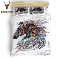 Familydecor Ethnic Horse S 4 Pcs Bedding Sets Quilt Bedding Set Polyester Fabric Duvet Cover Sets Machine Washable All Living