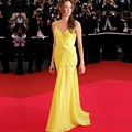 2017 Vestido Celebrates Sweetheart Simple Chiffon Angelina Jolie Yellow Celebrity Dress Red Carpet 08191W