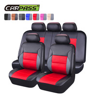 Car pass Universal Car Seat Covers Pvc Leather Sandwich Full Set Car Accessories Car Seat Cover for Lada Ford Nissan Renault BMW