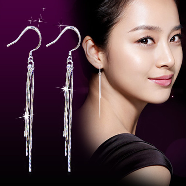 High Quality Silver Plated Jewelry Three Lines Long Tel Color Dangle Earrings For Women Fine