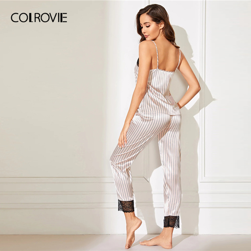 Image 2 - COLROVIE Pink Lace Trim Satin Cami Top And Striped Pants Women Pajama Set 2019 Spring Sleeveless Sleepwear Sexy Nightgowns-in Pajama Sets from Underwear & Sleepwears