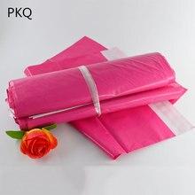 100pcs 로즈 레드 폴 리 메일 링 접착제 봉투 가방 배송 포장 가방 핑크 플라스틱 메일러 포스트 가방