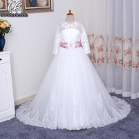 Romantic Flower Girl Dress per Matrimoni con una Lunga Cinghia Tulle Ball Gown Girl Party Comunione Dress Pageant Gown