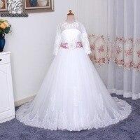 Romantische Blumenmädchen Kleid für Hochzeiten mit Langen Gürtel Tüll Ballkleid Mädchen Party Kommunion Kleid Pageant Kleid