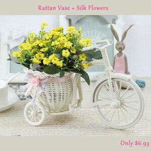 Image 2 - 실크 꽃과 등나무 자전거 꽃병 다채로운 미니 장미 꽃 꽃다발 데이지 인공 플로레스 홈 웨딩 장식