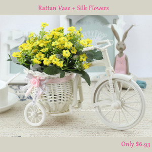 Image 2 - Rattan Bike Vase with Silk flowers Colorful Mini Rose flower Bouquet Daisy Artificial Flores For Home Wedding Decoration