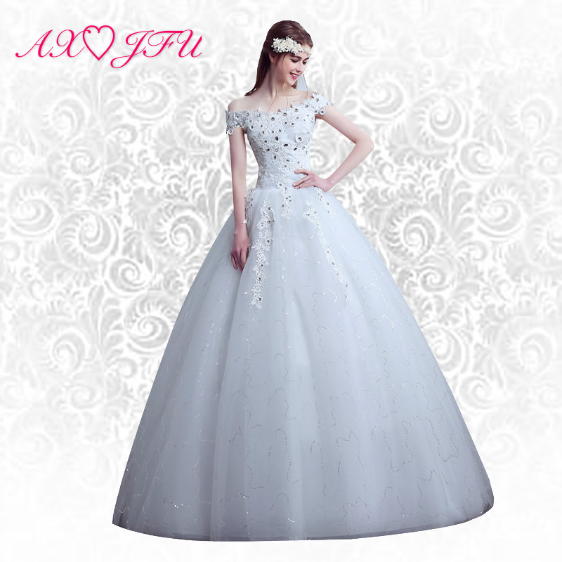 AXJFU Princess flower wedding dress Slit neckline married lace bandage yarn lace wedding dress