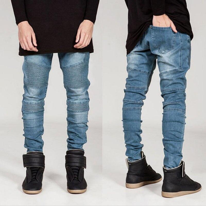 Fashion Mens Designed Straight Slim Fit Biker Jeans Pant Denim Trousers 2017 fashion patch jeans men slim straight denim jeans ripped trousers new famous brand biker jeans logo mens zipper jeans 604