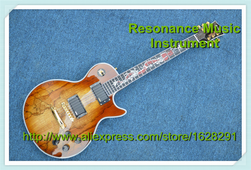 Professional Customization LP Electric Guitar Ebony Fretboard Dragon Inlay Solid Mahogany Body fretboard markers inlay sticker decals for guitar bass space invaders white pear color