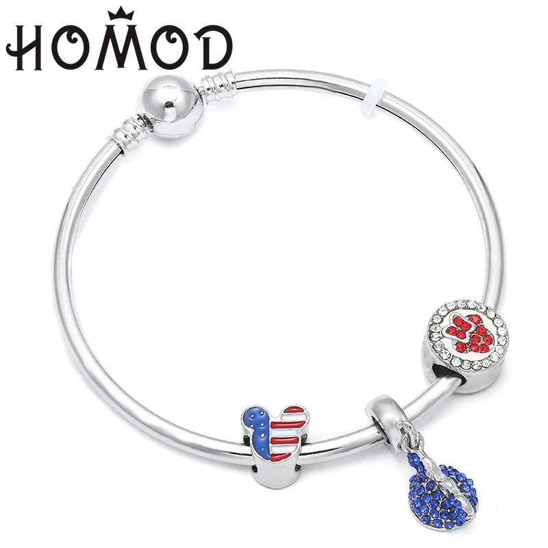 HOMOD Antique Silver Minnie Charm Fit Brand Women Wristband Bangle Bracelet Enamel Beads U.S. Cartoon Mouse Bracelets
