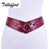 Retro Wide Metal Interlock Buckle Womens Elastic Waist Belt Cinch Belt For Women