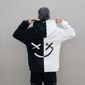 Harajuku Men Hoodies Smile Printed Hooded Sweatshirt Hip Hop Streetwear Male Loose Hoodie Pullover Clothes Moletom Trasher Bape(China)