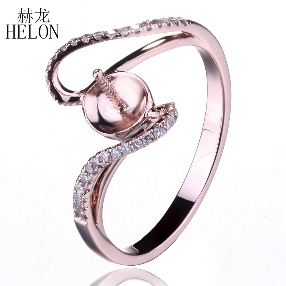 Helon 851075mm Round Pearl Semi Mount Wedding Anniversay Diamonds Ring  Setting Solid 10k