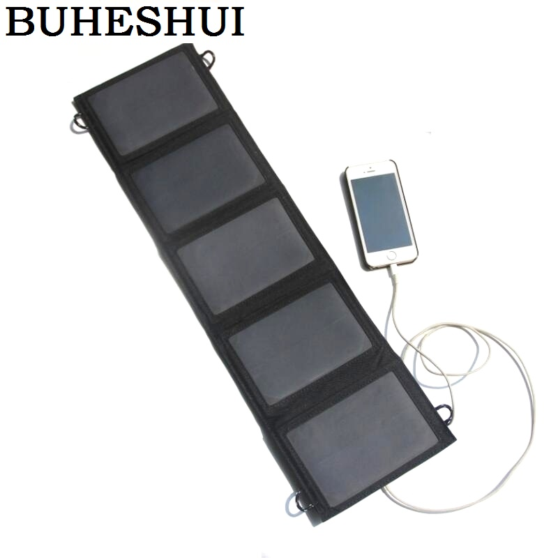 BUHESHUI 10W 5V NEW Foldable Universal Camping Travel Solar Panel USB Charger pack for iPhone font