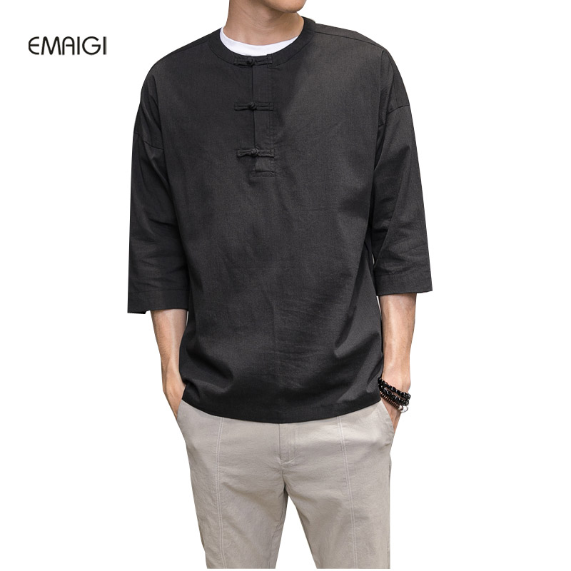 Men s Spring Summer Cotton Linen Shirt Male Fashion Casual Solid Color Loose Shirt China Style