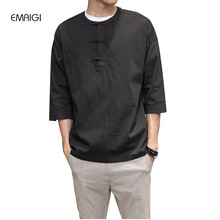 Men's Spring Summer Cotton Linen Shirt Male Fashion Casual Solid Color Loose Shirt China Style Pullover Tee Shirts