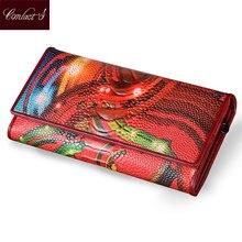 Новые модные кожаные Для женщин кошелек Винтаж с цветочным принтом Страуса Красный Бумажники женские длинные Клатчи с портмоне визитница
