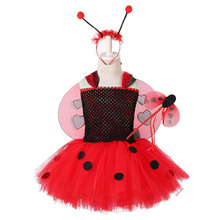 Girls Halloween Ladybug Costume for Kids Knee Length Scarab Dress Red Tulle Tutu Set with Wing Headband Fairy Wand