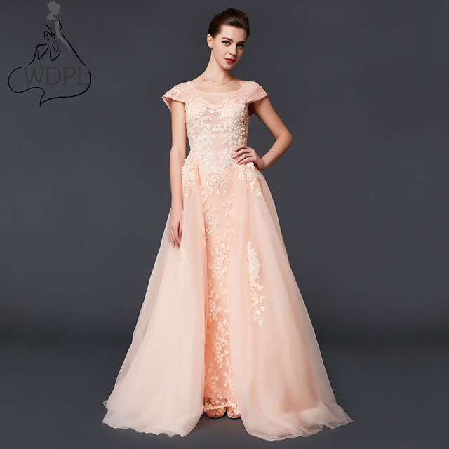 2017 Pink Lace Long Prom Dresses Detachable Train Removable Skirt ...