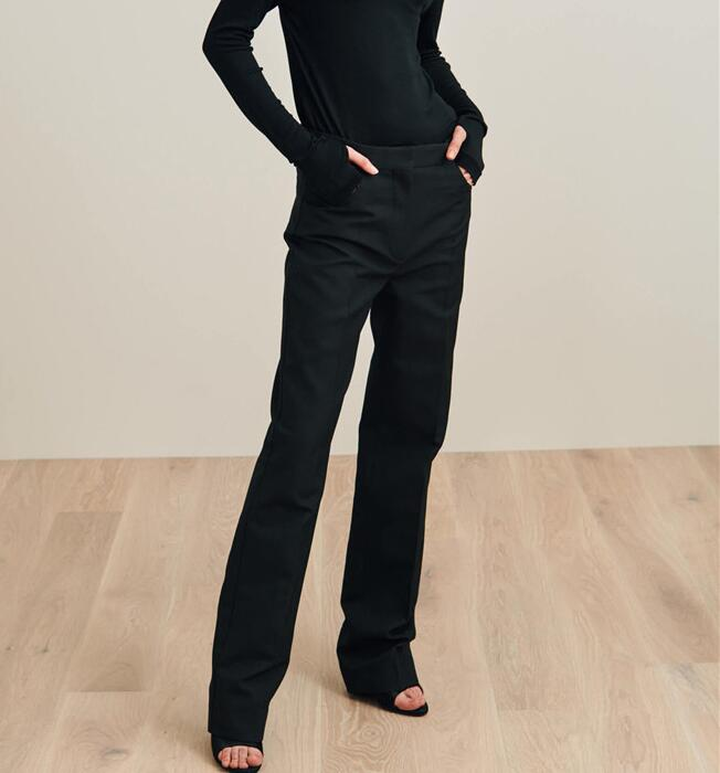 Black Troia Straight Trousers Suit pants WITH POCKETS