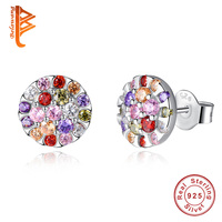 925 Sterling Silver Multi-Colored Natural Zirconia Earrings Hot Design Jewelry Women Water Grop Earrings