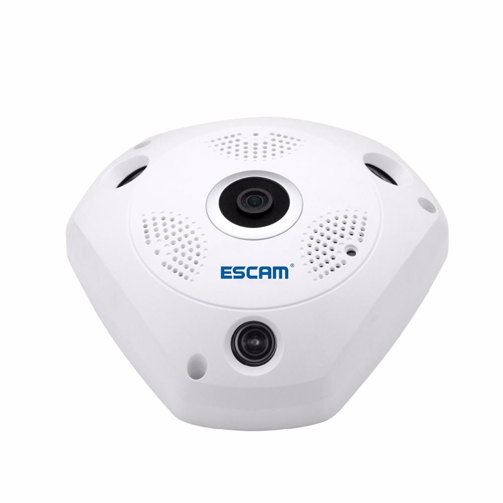 ESCAM Shark QP180 960P IP VR Camera WiFi Network Fisheye 1.44mm 360 Wi-Fi Cameras Surveillance CCTV Cam support VR BOX 1 3mp ip vr camera wifi network fisheye camera 1 44mm 360 panoramic wi fi cameras 960p surveillance cctv cam support vr box