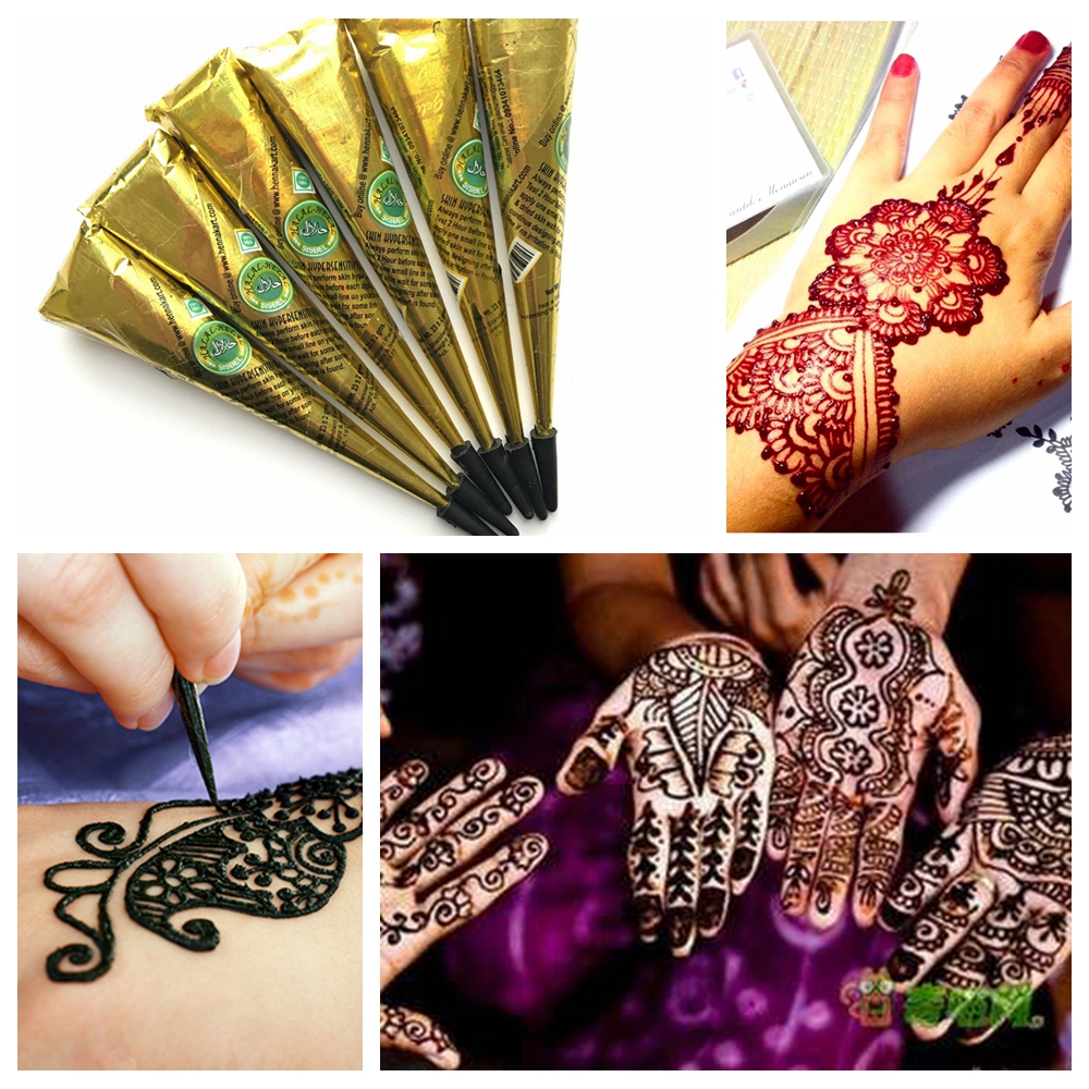 Inflicting Ink Tattoo Henna Themed Tattoos: 6PC/LOT Black Ink Color Natural Mehndi Henna Tattoo Paste