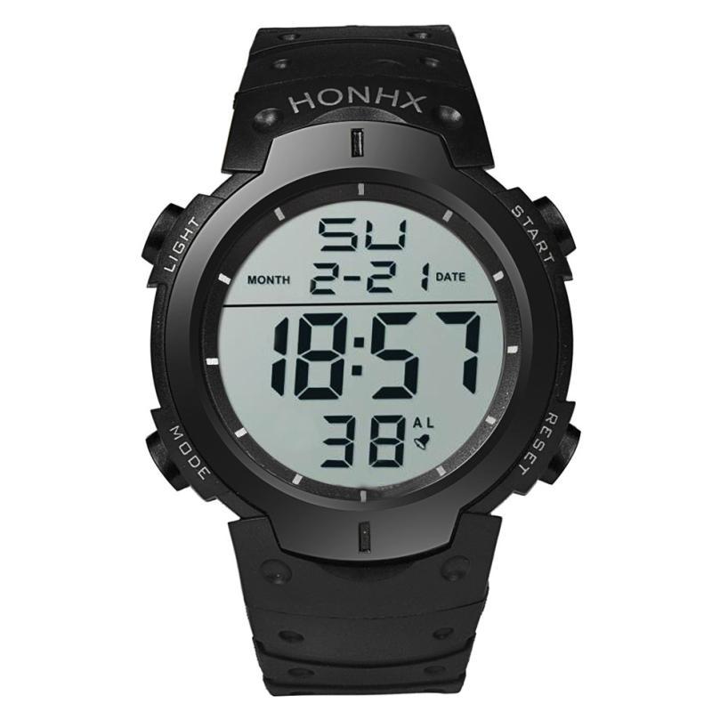 2018 NEW Fashion Waterproof Mens Boy LCD Digital Stopwatch Date Rubber Sport Wrist Watch ...