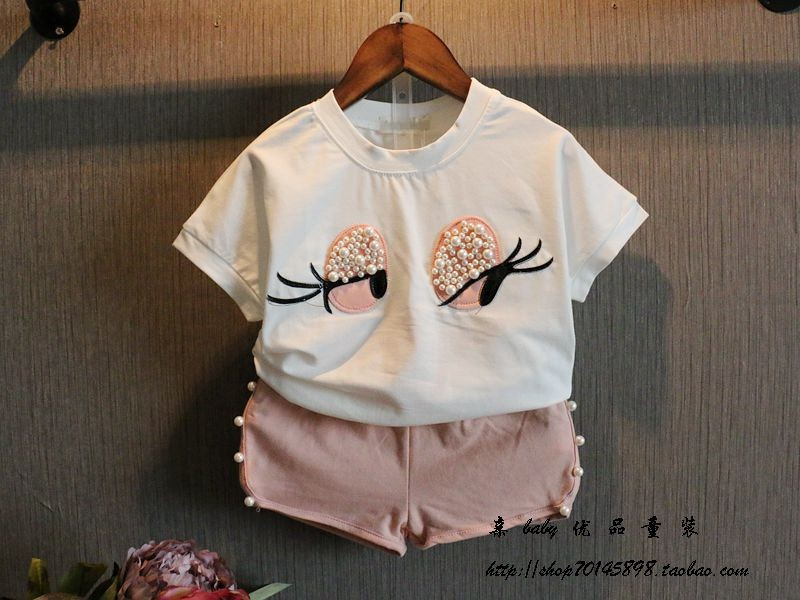 Girls Clothing Set Pearl Girls Clothes Set Lovely Long Eyelashes Toddler Girl tops + Pants Girls Suit Kids Clothes