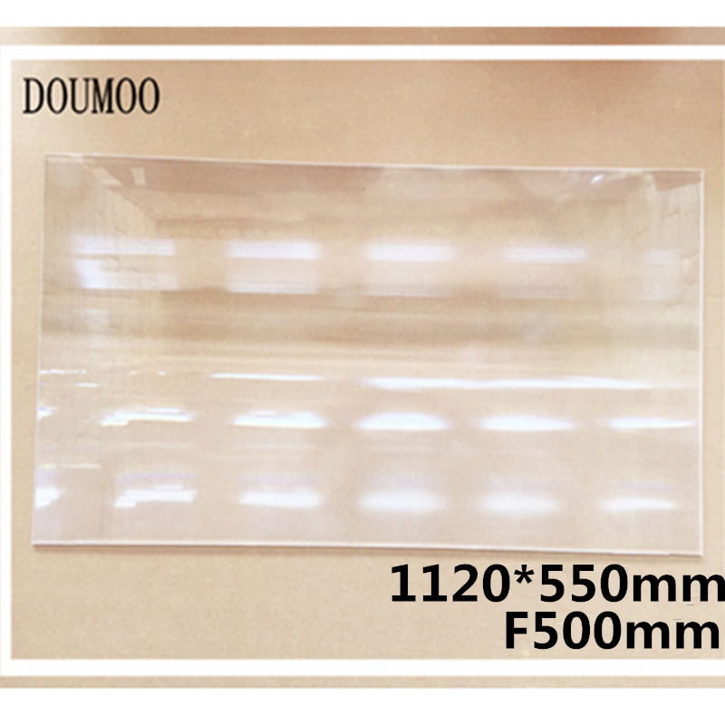 Big size 1120*550 mm Optical PMMA Plastic linear Fresnel Lens focal length 500 mm Fresnel Lens Plane Solar Energy Concentrator 2pcs 124mm dia round optical pmma plastic fine screw thread solar condensing fresnel lens large focal length 120mm 150mm 190mm