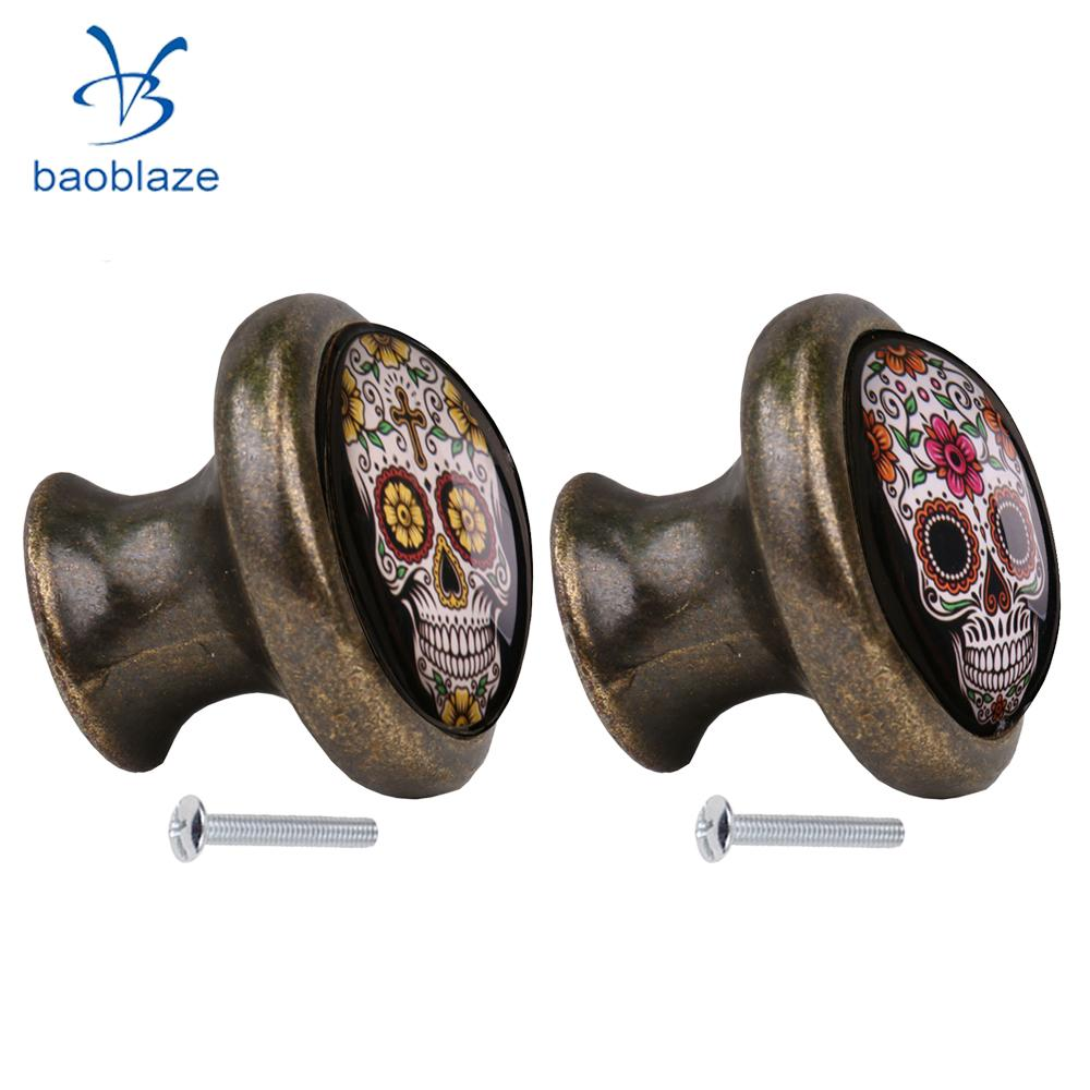 2pcs Skull Pattern Vintage Metal Door Knob Cupboard Cabinet Bin Drawer Dresser Pulls Handle Knob Furniture Hardware #6 2pcs set stainless steel 90 degree self closing cabinet closet door hinges home roomfurniture hardware accessories supply