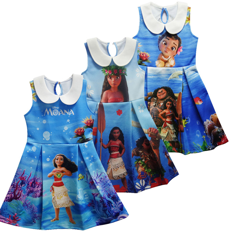Moana Dress Children Clothing Summer sleeveless Dresses Girls Baby Costume Princess Party Dress Girl Clothes Kid Casual Clothes coolsa new summer linen women slippers fabric eva flat non slip slides linen sandals home slipper lovers casual straw beach shoe page 2