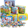 60pcs Cartoon Wooden Jigsaw Puzzle Toys for Children Baby Early Educational Wooden Puzzles Toy Iron Box Game for Kids