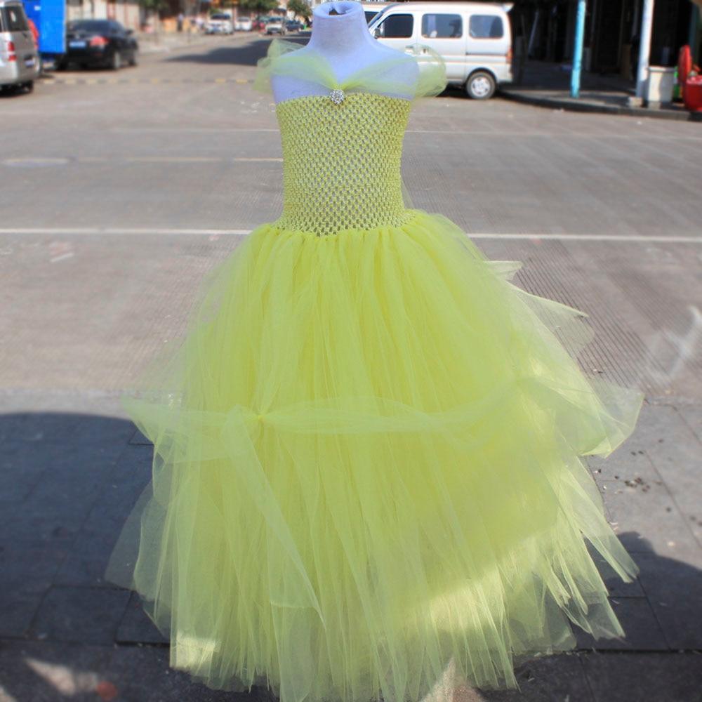 Princess Belle Birthday Party Tutu Dress Yellow Color Beast Beauty Ball Gown Cosplay Tutu Dresses Halloween Costume аксессуары для косплея random beauty cosplay