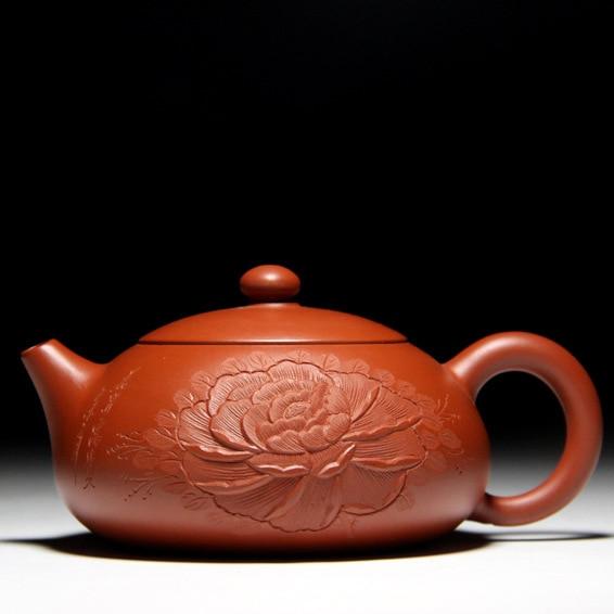 Peony flat Xi shi teapot about 150cc capacity Yixing genuine Zisha teapot ore gold Zhu mud specialPeony flat Xi shi teapot about 150cc capacity Yixing genuine Zisha teapot ore gold Zhu mud special