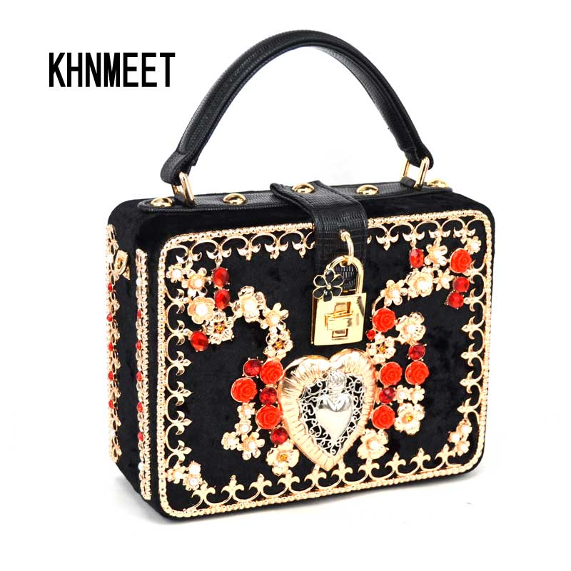 Red Flower Heart Designer Brand Mini Tote Flap Bag Black Velvet Lock Clutch Evening Bag Fashion Shoulder Bag strap Handbag 1205 fashion box evening bag oil painting flower black lock clutch bag strap mini tote bag ladies purse trunk white women handbags