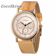 CocoShine A-711  Faux Chronograph Ladies Women Wood Leather Analog Quartz Wrist Watch wholesale Free shipping