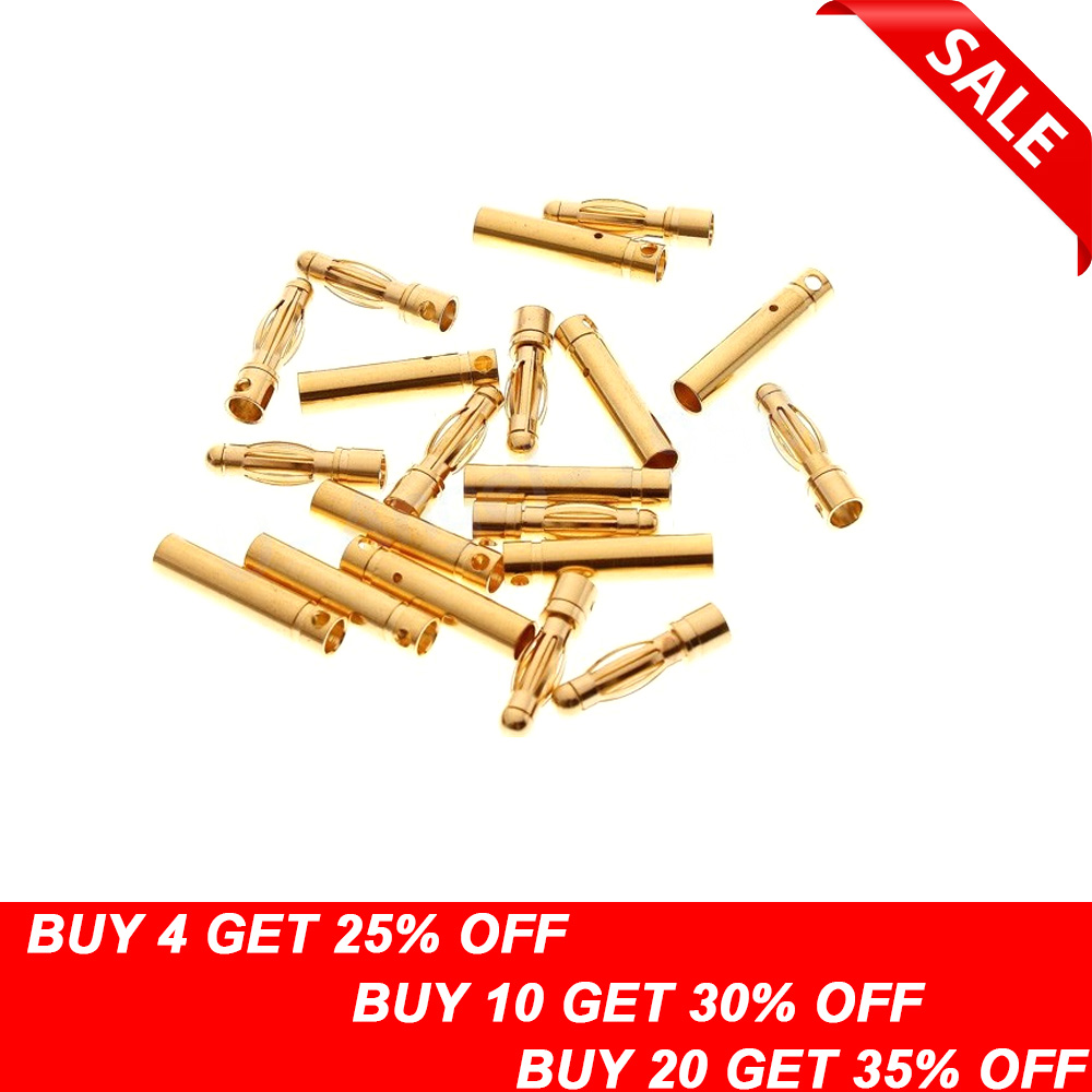20pcs/lot 4.0mm 4mm Gold Bullet Connector for RC battery ESC (10 pair)20pcs/lot 4.0mm 4mm Gold Bullet Connector for RC battery ESC (10 pair)