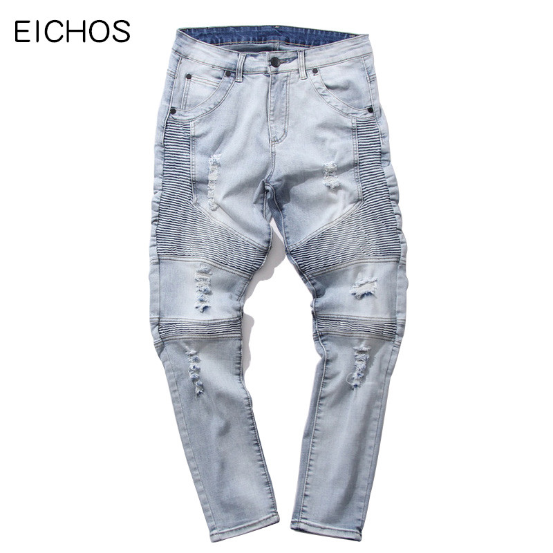 EICHOS Men's Jeans Biker Hip Hop Holes Stretch Jeans High Quality Slim Fit Denim Super Men Rockstar Mens Skinny Jeans eichos men biker jeans ripped denim slim fit jean pants crease designer hip hop skinny jeans with holes mens trousers