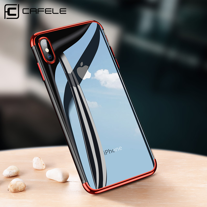 CAFELE Phone Case for iPhone X 10 Luxury Fashion Transparent TPU Soft Plated Phone Back Shell for iPhone X 10 Silicone Case