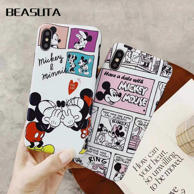 Funny Minnie Mickey Mouse Soft TPU Case for iPhone XS XR cas