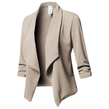 9177c51b22 Laamei Blazer Slim Yards Ladies Blazers Work Wear Jacket Plus Size Women  Solid Color Suit Long Sleeved Lapel Casual Small Suit