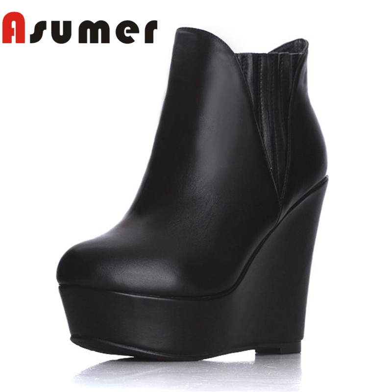ASUMER HOT SALE 2018 fashion elastic band ankle boots for women solid simple winter boots wedges genuine leather shallow boots цены
