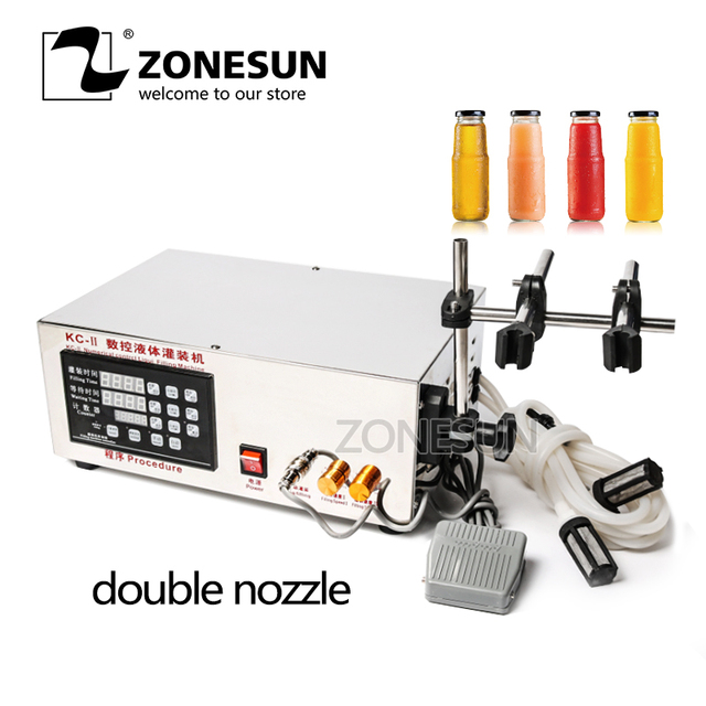 ZONESUN Double Head Microcomputer Automatic Water Liquid Filling Machine for Medicine Chemical Oil Heat Resistance Self-priming