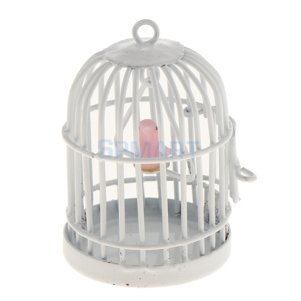 1:12 Scale Metal Bird Cage with Bird Birdcage Dollhouse Miniature White the birdcage
