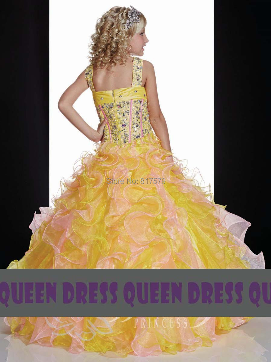 Cute Yellow And Pink Color Combination Puffy Skirt Vestido De Nina Las Flores Ball Gown Flower Fancy Dress Compeion In Dresses From