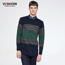 VIISHOW Autumn Sweater Men Striped Knitted Sweater Pullover Men Casual Long Sleeve Navy Clothes for Men ZC45563